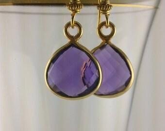 Faceted Amethyst Teardrops Bezeled in Gold Vermeil Earrings