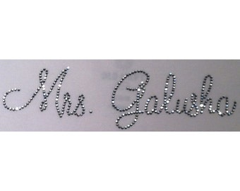 Personalized Mrs. Bride (last name only) Rhinestone Iron On Transfer