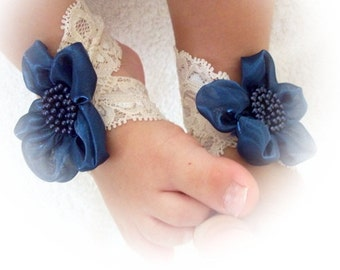 Baby Sandals with ivory lace and a dark blue flower, Baby Shoes, Cream Lace-Handmade Baby Sandals with Cute Yoyo