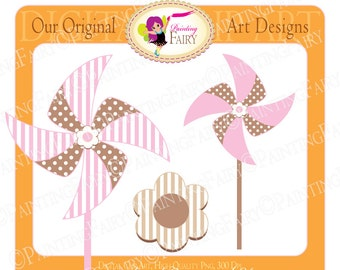Digital Clipart Cute Baby Girl pinwheel flower Embellishments Pink and Brown Cliparts Fun polka dot Personal & Commercial use pf00017-12