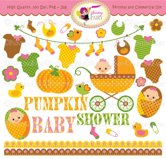 Autumn Baby Girl Clipart Cute pumpkin Baby clothes line socks