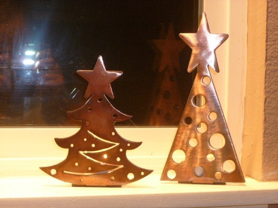 Items similar to christmas tree tea light candle holders for How to make christmas candle holders
