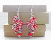 ON SALE JEWELRY - Hippie Boho Earrings, Gemstone Cluster Earrings, African Earrings, Long Red Earrings,Dangle Earrings, Bohemian Earrings