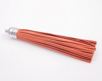 Orange Color Leather Tassel with Silver Cap / 12mm x 98mm / EORS002-P (1pcs)