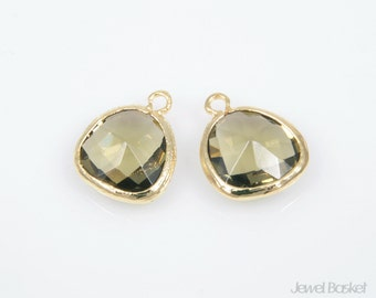 MARKDOWN - Olive Green Color and  Gold Framed Glass Pendent - 2pcs Olive Green Color Pendant,  / 13x16mm / SOGG001-P