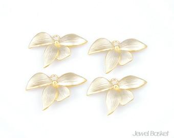 BMG034-P (4pcs) / Orchid Flower Leaf Pendant / 10mm x 21mm