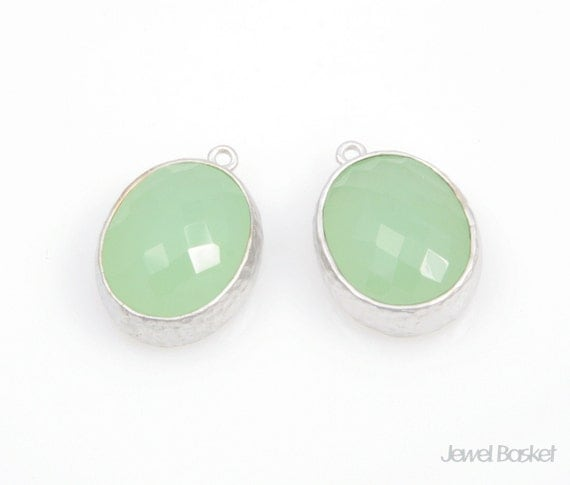 Light Mint Color Matte Silver Framed Glass Oval Pendent - 2pcs Light Mint Glass Pendant 12 x 16mm, Earrings Jewelry Pendant / SLMMS009-P