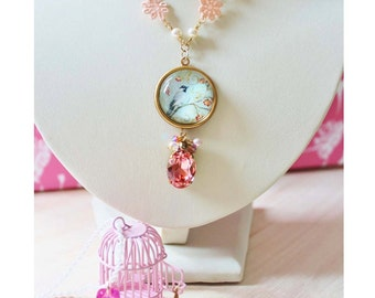 Swallow & Birdcage Layering Necklaces - romantic jewelry - glass domed pendant, pink birdcage, swarovski gem and peach lace