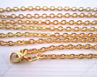 15Pcs Of 28 inch  Gold Plated  Flat Oval Necklace Chain3mmx4mm For Jewelry making