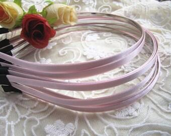20pcs pink metal  Headband with satin 5mm Wide