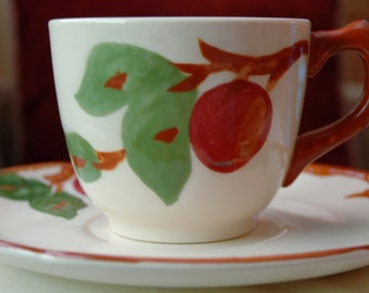 Featured Treasury List Item, Tea Cup and Saucer, Fransican Earthenware in the Apple pattern, Made in the USA.