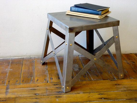 Industrial Raw Steel Side Table