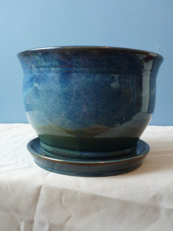 Tidal Pool Blue Large Planter With Saucer
