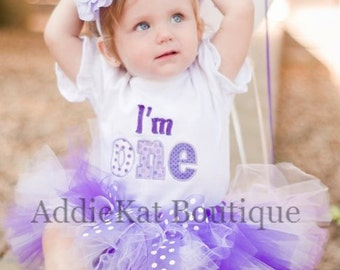 Personalized Purple Polka Dots Birthday I'm One Tutu Outfit