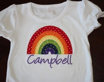 Personalized Rainbow Polka Dot Birthday Shirt