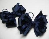 Hair Bows Pig Tail Nautical Navy Blue Back to School UNIFORM Toddler Girl Grosgrain set of 2