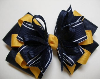 Large Back to School Hair Bow Toddler to Big Girl Boutique Uniform Navy Blue Yellow Gold Uniform Team Spirit Wear WVU