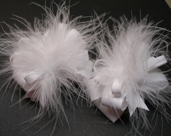 TWO all White Princess Pig Tail Hair Bows Toddler Party Girl You Pick Colors