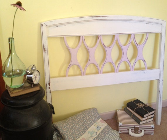 Vintage painted distressed 1950s twin headboard for Painted on headboard
