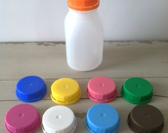 Plastic Milk Bottles, Milk Jugs, Plastic Party Bottles, with Lids and a Custom PDF Printable Label, (24) Bottles