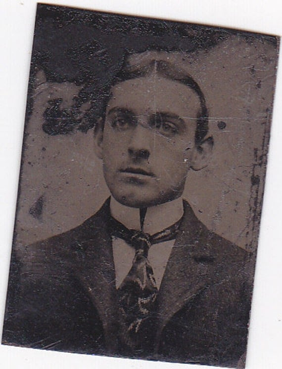 Gem Tintype Photograph of Young Man W/ Tie