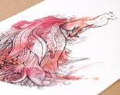 Peafox Art Print. Peacock and Fox. Watercolor Art