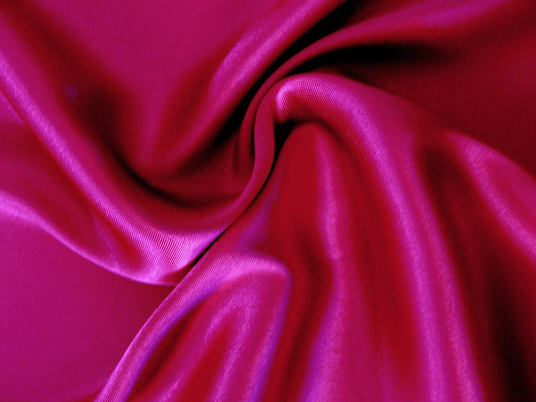 Dark rose pink charmeuse satin fabric by the yard for Satin fabric