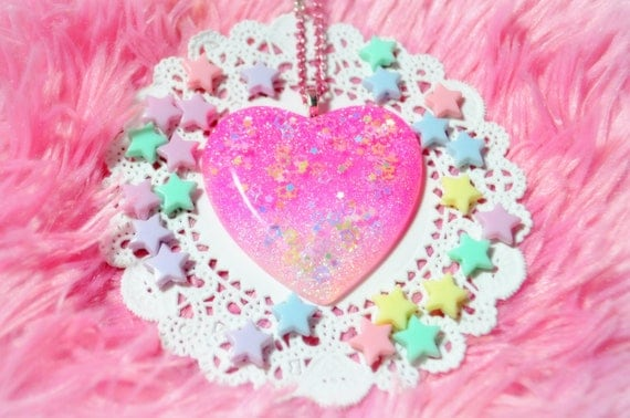Light Pink Hot Pink Fade Stars Pastel Heart Necklace