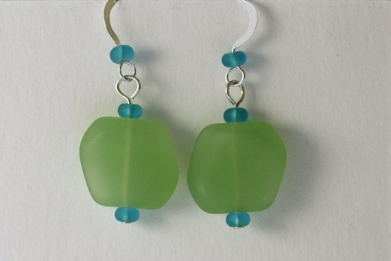 Light Green and Aqua Sea Glass Beaded Earrings