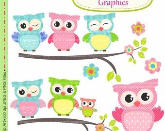 owls clip art ,Digital Clip Art owls, Invitations, Card Making, Scrapbooking  M.20