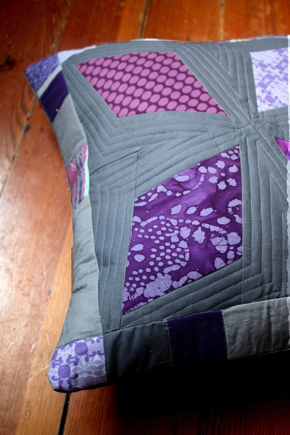 Modern Quilted Pillow Covers : Modern Grey and Purple Quilted Pillow Cover by SazeracStitches