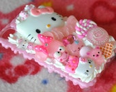 READY TO SHIP iPhone 4/4s Pink Hello Kitty Girly Sweets Themed Whipped Cream Deco Den Case