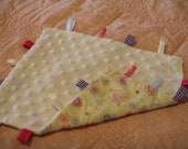 Baby Taggie blanket, yellow minky/ birds, hearts and flowers design : FREE POSTAGE