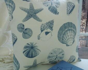 DECORATIVE THROW Pillows 18x18 BlueThrow Pillow Cover 18 x 18 Blue pillows Shells  Beach Cottage
