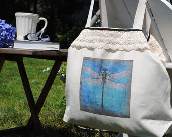 Dragonfly Canvas Market/Tote Bag (large)