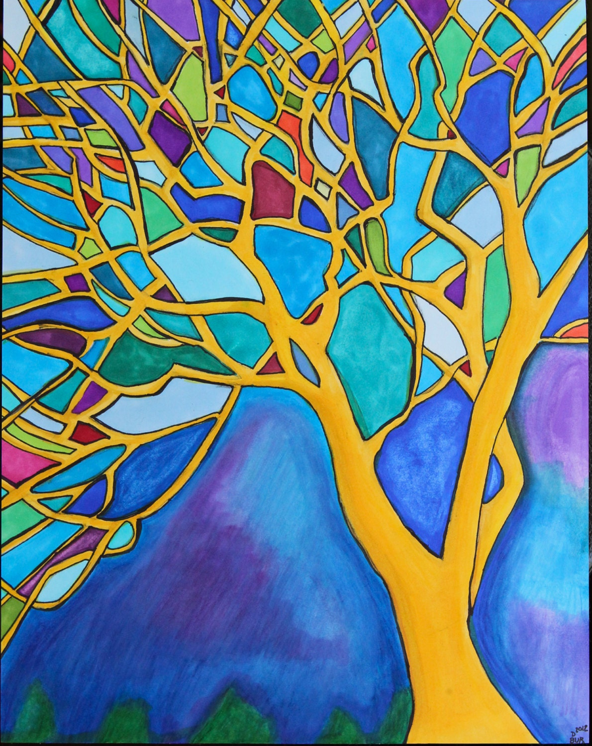 Stained glass tree by danibubart on etsy