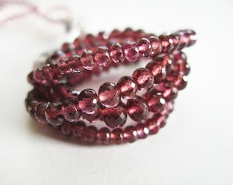 Rhodolite Garnet, Rondelles, AAA , Micro Faceted, 2.5-3.75mm, Full Strand, 16 inches