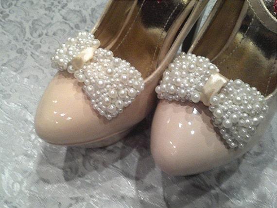 CRAZY SALE :Handmade 1 pair pearls bows shoe clips,or hair bows,bridal shoe clips,bridesmaid shoe clips,women shoe clips