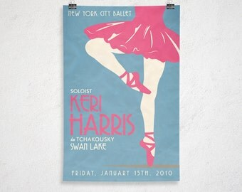 Custom Retro Ballet Poster - 24x36 - Printable Digital File