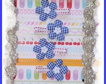 Party Favors, Birthday Party Favors, Dark Blue/ White Gingham Hair Clip, Daisy Hair Clip, Baby Hair Clip, Toddler Hair Clip