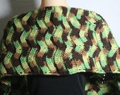 Sale - Green Ombre Crochet Scarf (Free Shipping)