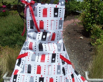 Modern and Festive Coffee Pots on Women's Flare Apron