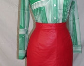80's Lipstick Red Leather Mini skirt.