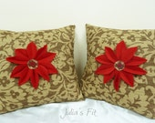 Red Flower Pillow Beige Set of Two (2) Covers