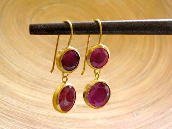 24K &18K Gold And African Ruby Dangle Earrings