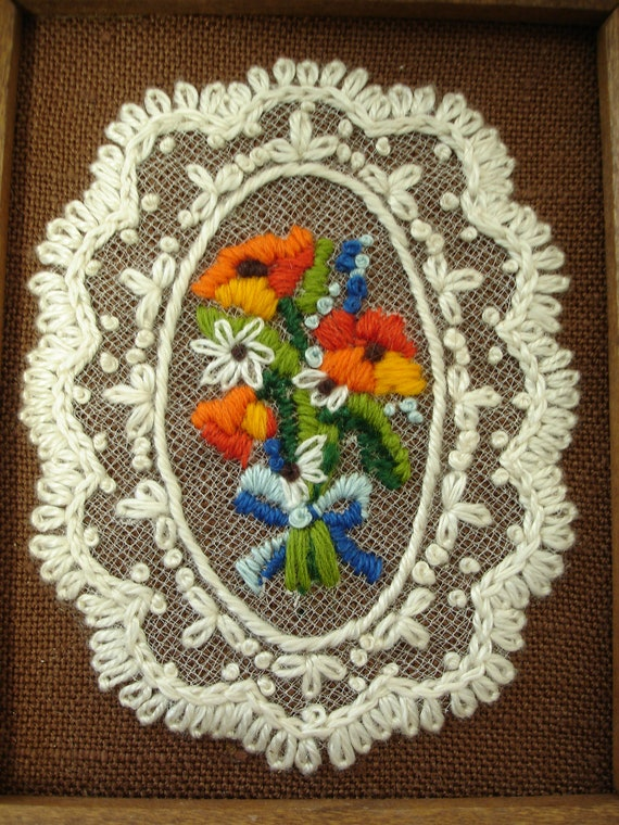 Vintage Framed 1970's  Wool and Lace Embroidery