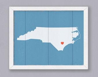 "North Carolina Wood Sign - Rustic Home decor  16""x20"" Handmade Custom Sign - Wedding gift Housewarming gift"