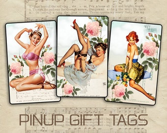 Pinup gift cards Greeting cards Printable digital tags Pinup gift tags on Digital Collage Sheet - PINUP IN HEAVEN