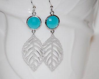 Mint chalcedony leaf earrings, silver leaf earrings, leaf dangle earrings, gift