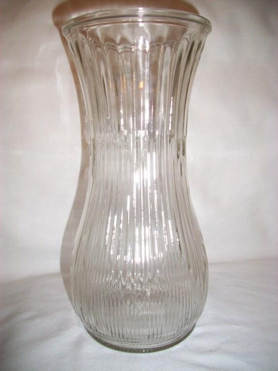 Vintage Hoosier Glass Vase With Ribbed Arrow Pattern
